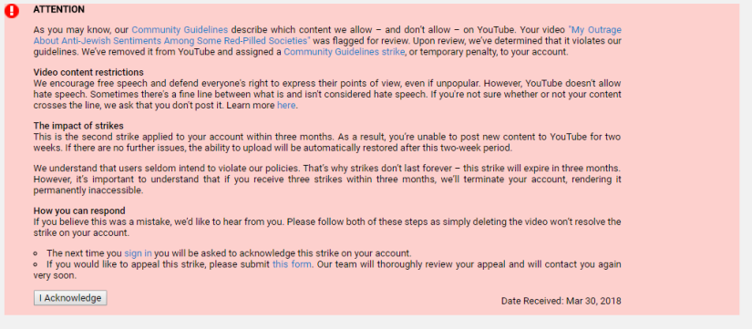 Anti Anti-Semite Video Struck Down on YouTube too